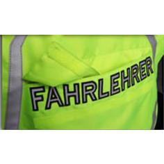 Modeka Sicherheitsweste für Fahrlehrer Motorrad-Warnweste neongelb mit Hüftweitenverstellung und Aufdruck