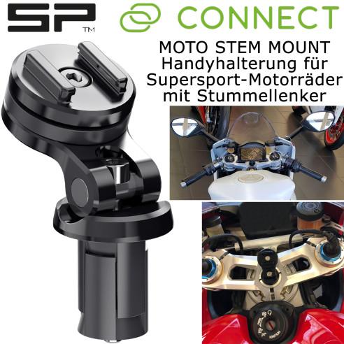 SP Connect Handyhalterung MOTO STEM MOUNT für Supersport-Motorräder mit Stummellenker
