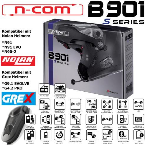 N-COM Headset B901 S für Nolan N91/ N90-2 und Grex Helme G9.1 EVOLVE / G4.2 PRO