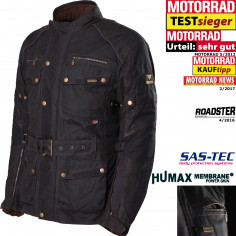 Modeka High-Tech 3in1 Wachsjacke GLASGOW wasserdicht Thermofutter mit SAS-TEC Protektoren