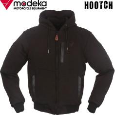 Modeka Motorrad-Hoodie HOOTCH leger Blouson-Fit mit Lederpaspeln und Aramid