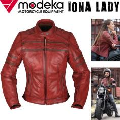 Modeka Damen Motorrad-Lederjacke IONA LADY aus Büffelleder mit Stretch Thermoweste und Protektoren