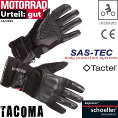 Modeka Motorradhandschuhe TACOMA Herren Leder CE wasserdicht Tactel mit SAS-TEC 3D-Protektoren