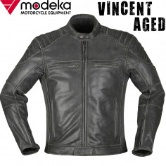 Modeka Motorrad-Lederjacke VINCENT AGED Blouson Stretch Vintage mit Thermoweste und Protektoren