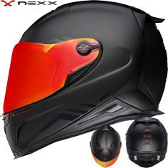 Nexx Sport-Integralhelm X.R2 mit Panorama-Flachvisier Carbon-Helmschale und Doppel-D Verschluss